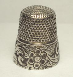 RP: 1890's Sterling Silver Goldsmith Stern Thimble with Abstract Flower Engraved | eBay.com