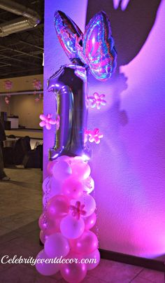 """1st birthday balloon column (w/ foil """"1"""" and foil butterfly for the column topper)"""