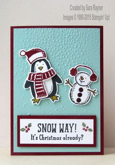 Snow friends Christmas card, using supplies from Stampin' Up! www.craftingandstamping.com #stampinup