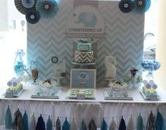 "Photo 2 of 15: Chevron and Blue Elephant / Baptism ""Hudson's Chevron and Blue Elephant Christening"" 