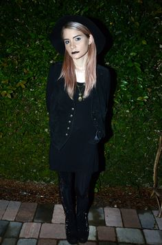 WICKED WITCH OF THE. . . DIRTY SOUTH #OOTD up on #YUPPYSCUM.COM    #blackonblack, pastel hair, vests, and Jeffrey campbells