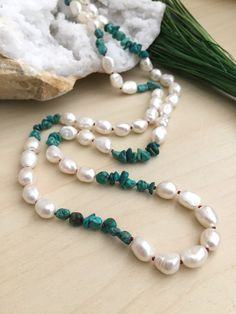 Freshwater Pearl and Turquoise Necklace Hand knotted Gemstone Pearl Red Silk Hippy Baroque Pearl Mala Boho Mala Layering by Girlwiththepearl