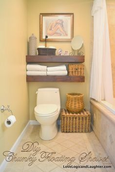 Consider Floating Shelves For Rolled Up Towels And Baskets On Wall Over Toilet Tank Diy Chunky A Final Photos With Shelf