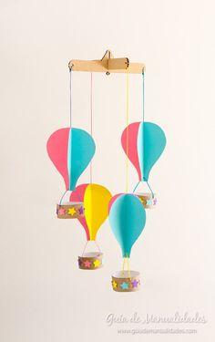 Una idea muy bonita! Les muestro cómo hacer un móvil con globitos aerostático de papel para nuestro rincón favorito o la habitación de los peques!