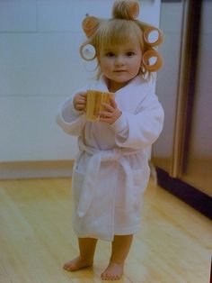 little girl with Bath Robe, curlers and coffee cup