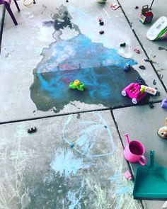 She is sooo artistic! Love my girl! #art #mommysgirl #heart #love #color #waterfun #chalkart #toys #fun #summerevening # #