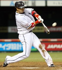 Hiroyuki Nakajima smacks his 13th of the year, a solo shot to left-center field off Hiroki Yamada to tie the game at 1 in the bottom of the 7th inning at Seibu Dome on Wednesday, September 5, 2012.