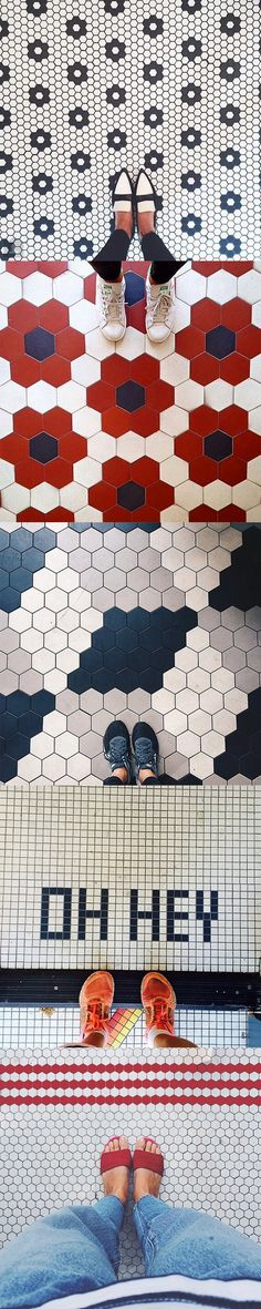 "With our cement OR ceramic (mosaic) Hex tiles. With a variety of sizes and endless colors to choose from, have fun with it. Who knows, your floors may one day ""break the internet"". #mosaichsenyc #moroccantile #sata #hex #cementtile #mosaictile nice floors by ihavethisthingwithfloors"