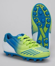 14d5fbfef Look at this Green & Royal Blue Velocity Soccer Cleat - Kids by Xara