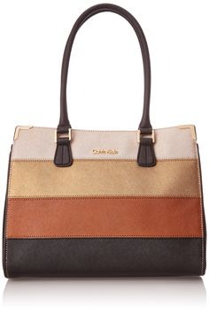 Calvin Klein Calvin Klein Saffiano Color-Block Tote Bag. Structured satchel in color-blocked ombre leather paneling with gold-tone hardware corners.