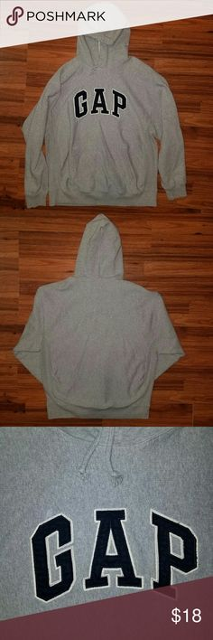 """MEN'S GAP PULL OVER HOODIE SIZE LARGE MEN'S GAP PULL OVER HOODIE SIZE LARGE *Size: Large  *Color: Gray with Navy """"GAP"""" applique *NOTE: NO DISCOLORATION! Pic has a pink hue, but actual item has absolutely no color flaws! Thank you.  *Great condition  *Smoke-free home  *Fast shipping  *Feel free to ask questions AND  *MAKE OFFERS! ;)  xoxo  @RandomFindings GAP Jackets & Coats"""