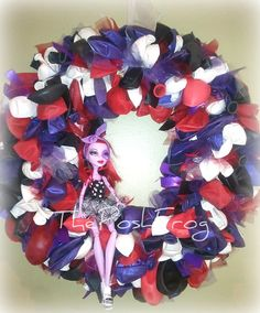 Monster High Inspired Black, Red, White, and Purple Party Balloon Wreath