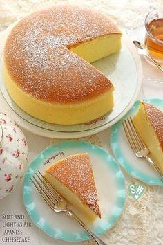 No Bake Desserts, Just Desserts, Dessert Recipes, Sushi Recipes, Gourmet Desserts, Cheesecake Desserts, Japanese Cheesecake Recipes, Japanese Cheescake, Japanese Cotton Cheesecake