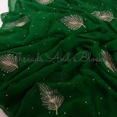 Pure Chiffon Saree witb Gota Jaal by Threadsandblocks on Etsy Indian Blouse, Indian Sarees, Indian Wear, Mirror Work Blouse, Embroidery Suits Design, Embroidery Designs, White Saree, Original Design, Chiffon Saree