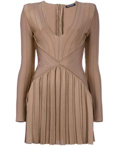 BALMAIN Long Sleeved Dress With Pleated Skirt. #balmain #cloth #