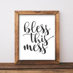 Printable Wall Art Bless this Mess home decor printable quote home decor wall decor black and white print digital art gallery wall - Gracie Lou Printables Family Room Decorating, Hallway Decorating, Decorating Small Spaces, Entryway Decor, French Home Decor, Unique Home Decor, Digital Art Gallery, Hippie Home Decor, Online Print Shop