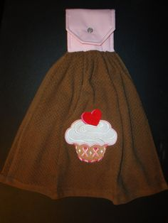 Embroidered Breast Cancer Awareness Cupcake Kitchen Towel by Marshaslilcraftpatch on Etsy