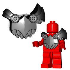 The demon armor consists of a large breast and back plate secured to a massive left pauldron, with some scale-mail hanging down for a little added protection. There are also clips on the back that can Lego Minifigure Display, Lego Minifigs, Lego Ninjago, Viking Armor, Viking Helmet, Spartan Shield, Scale Mail, Dragon Tail, Pokemon