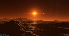Beatiful sunset from a cold desert planet orbiting the nearest star to our sun; Proxima Centauri. Description from yeahscience.org. I searched for this on bing.com/images