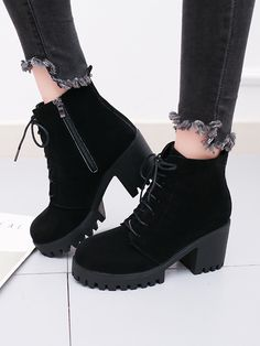 Side Zipper Lace Up Ankle Boots - Side Zipper Lace Up Ankle BootsFor Women-romwe Source by - Lace Up Ankle Boots, High Heel Boots, Ankle Booties, Heeled Boots, Fashion Heels, Fashion Boots, Sneakers Fashion, Yellow Boots, Black Boots