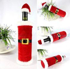 23 cm * 12 cm tampa de garrafa de vinho de mesa de jantar de natal decoração para casa decoração papai noel Xmas suprimentos