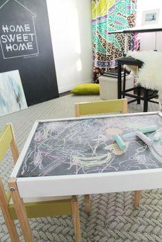 Inspiration - Chalkboard table -- Ikea table + chalkboard paint + rail on edge = win?