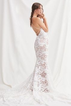 This gown was designed with an oversized doily pattern, so it stands out from the back row. Plus, a corset-laced back and cathedral train assure you'll look amaze from every angle. Princess Wedding Dresses, Bridal Wedding Dresses, Dream Wedding Dresses, Designer Wedding Dresses, Backless Wedding, Lace Wedding, Blush Bridal, Elegant Wedding, Perfect Wedding