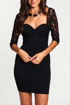 Black Lace Splicing Square Neck Three Quarter Sleeve Dress