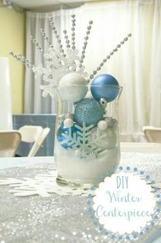 Diy Winter Centerpiece Change Out the Blue for Red and Green and It : Winter Decor Ideas Office Christmas, Silver Christmas, 12 Days Of Christmas, Disney Christmas, Christmas Holidays, Christmas Crafts, Christmas Decorations, Table Decorations, Snowflake Decorations