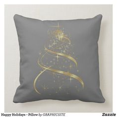 Shop Happy Holidays - Pillow created by GRAPHICSITE. Modern Christmas, Christmas Design, Holiday Tree, Holiday Gifts, Happy Holidays, Christmas Holidays, Christmas Pillow, Custom Pillows, Modern Classic