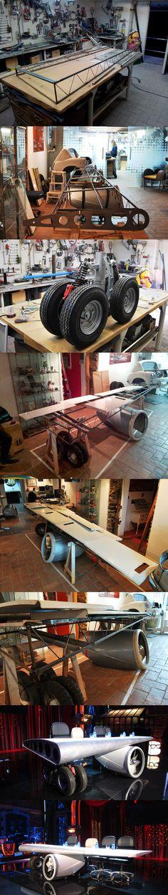Así se hizo la Mesa ala de avión para el programa Buenas Noches y Buenafuente... Como no, de los creadores de nuestra XWings Los Supercracks!! Bel & Bel http://www.belybel.com/