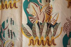 Vintage 1950s TIKI LEAVES Barkcloth Curtain