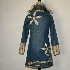Upcycled clothing . denim jacket . heart on the line