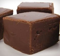 FUDGE  Ingredients:    4 1/2 c. sugar  1 can evaporated milk  2 cubes butter  3 cups semi-sweet chocolate chips (I use 2 full 12 oz bags)  2 tsp. vanilla  2 cups chopped nuts (optional)