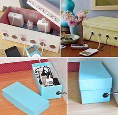 25 Projects to Show off Your Amazing DIY Skills: DIY- cable management Shoe-Box - Diy & Crafts Ideas Magazine Ideas Prácticas, Decor Ideas, Cord Organization, Cord Storage, Plastic Storage, Cable Storage, Plastic Wrap, College Desk Organization, Bathroom Organization