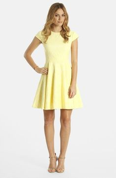 pale yellow bridesmaid dress | LABEL by five twelve Jacquard Fit & Flare Dress available at #Nordstrom