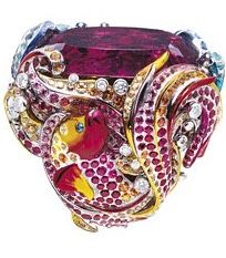 """{Jewel Worthy} """"Coffret de Victoire"""" ring in 18K white gold, diamonds, rubellite, sapphires, rubies, amethysts, yellow sapphires, Paraiba tourmalines, mandarin garnets, pink sapphires, spinels, yellow tourmalines and lacquer."""" By Victoire Castallane for Dior"""