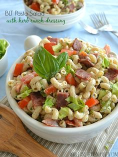 Creamy BLT Pasta Salad | This smoky side dish incorporates all the flavors from a favorite all American sandwich into a tasty pasta salad.  The bacon transforms an ordinary macaroni salad into an irresistible delight. @WholeHeavenly #salad