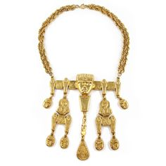 Vintage Signed Pauline Rader Egyptian Revival Runway Couture Gold Tone Necklace c. 1970