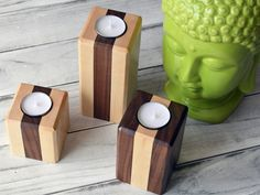 Matching Set of 3 Tea Light Holders by Kajiggers on Etsy