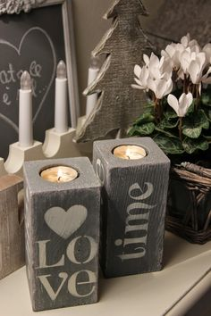 There's nothing quite like the ambiance of a wax candle. Unlike the faux battery-operated options, a candle's warm glow is timeless and elegant. Homemade candle holders add to the charm of this age-ol 4x4 Wood Crafts, Wood Block Crafts, Concrete Crafts, Wooden Projects, Homemade Candle Holders, Wooden Candle Holders, Homemade Candles, Diy Candles, Decoupage