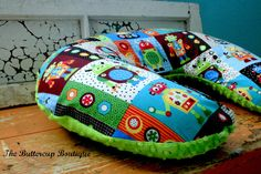 Nursing Pillow Cover in Rad Robots and  your Choice of Minky Color - Made to Order