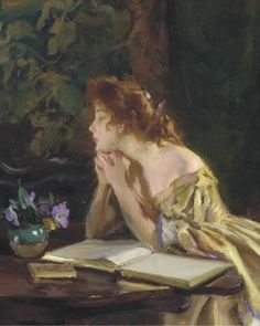 Idle Moments.  Irving R. Wiles. American (1861 - 1948).  Oil on canvas.    Although Wiles freely incorporated impressionist color and brushwork into his technique, he remained a conservative artist who never became associated with any of the avant garde movements that developed during his lifetime.