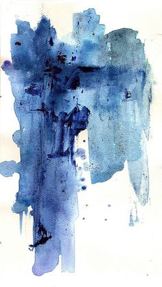Beautiful blues   Abstract Art Watercolor - Fever Fall