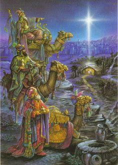 Three wise men visit Baby Jesus in the manger. Christmas Scenes, Christmas Nativity, Christmas Love, Christmas Pictures, Christmas Holidays, Merry Christmas, Christian Christmas, Three Wise Men, Biblical Art