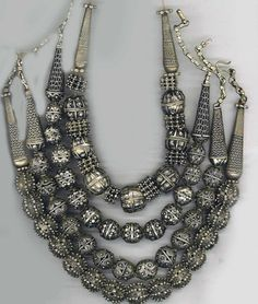 Yemen | Group of silver granulated necklace