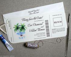 Unique Airline Ticket Inspired Save the Dates \ MospensStudio.com