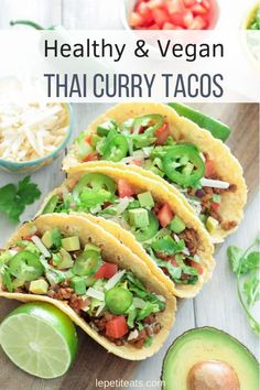 Vegan Thai Curry Tacos is part of Vegan Thai Curry Tacos With Turmeric Coconut Sour Cream - Thai Curry Tacos are vegan fusion food at it's finest, and they're fast and simple to prepare, making them supremely suitable for a quick weeknight meal! Vegan Dinner Recipes, Vegan Dinners, Vegetarian Recipes, Healthy Recipes, Healthy Dishes, Lunch Recipes, Summer Recipes, Easy Recipes, Fusion Food