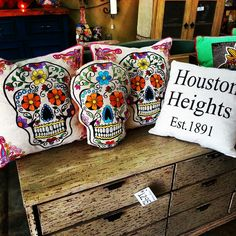 Day of the dead Pillows at Barrio Antiguo in Houston Texas 725 Yale St Houston Texas 77007 (713)8802105