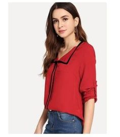 57d2c4f8034 Flat OFF On Fabrange Contrast Binding Roll Tab Sleeve Red Top. Buy from  shopclues at lowest price in India. DealsGroupIndia · Womens Clothing